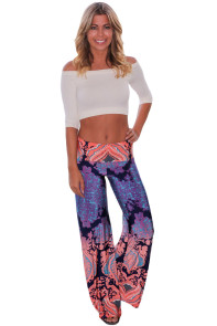 Navy and Orange Printed Palazzo Pants