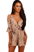Apricot Multi Floral Ruffle Wrap Cold Shoulder Playsuit