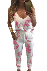 Pink Pattern V Neck Top and Pencil Trousers