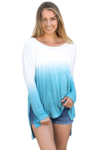 Blue Ombre Split Side Long Sleeve Top