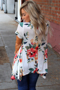 White Floral Short Sleeve Tunic