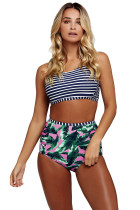 Navy Striped Crop Top and Leaf Print High Waist Swimsuit