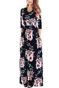 Classic Floral Print Black 3/4 Sleeve Maxi Dress