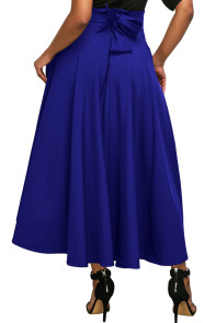 Blue Retro High Waist Pleated Belted Maxi Skirt