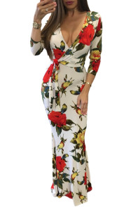 Floral Deep V Long Sleeve Maxi Boho Dress