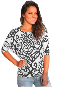 White Black Damask Print Half Sleeve Top