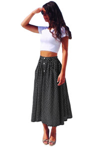 Black White Retro Polka Dot High Waist Midi Skirt