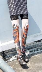 Tiger and Dragon Tattoo Stockings