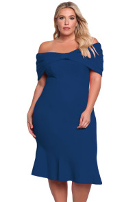 Blue Plus Size Off Shoulder Mermaid Midi Dress
