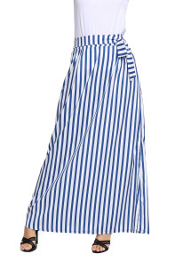 Light Blue Striped Maxi Skirt