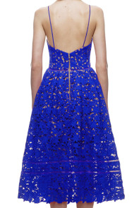 Royal Blue Lace Hollow Out Nude Illusion Party Dress