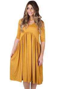Yellow 3/4 Sleeve Draped Swing Dress