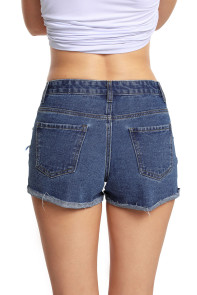 Blue Medium Wash Destroyed Denim Shorts