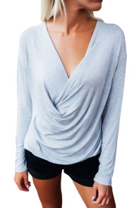 Surplice Draped V Neck Long Sleeve Top