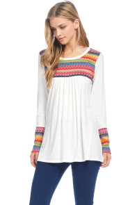 Rainbow Color Embroidered Long Sleeve Top