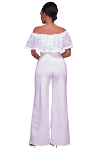 White Embroidery Ruffle Top Off Shoulder Jumpsuit
