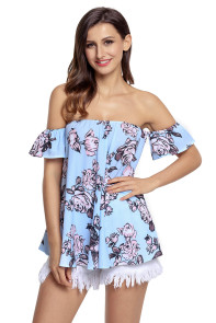 Light Blue Pink Floral Off Shoulder Blouse