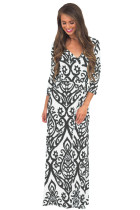 White Black Damask Print Wrap V Neck Boho Dress