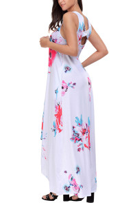 White Floral Pocketed Holiday Maxi Boho Dress