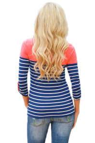 Pink Shoulder Blue White Striped Blouse