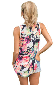 White Front Floral Print Back High-low Hem Tank