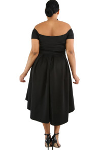 Black Plus Size Off Shoulder Swing Dress