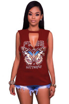Burgundy Freely Slash Butterfly Print Tank Top