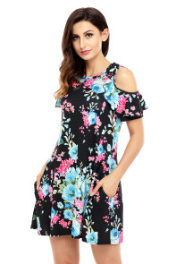 Ruffled Cold Shoulder Black Floral Dress