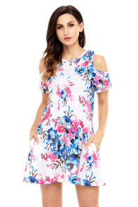 Ruffled Cold Shoulder White Floral Dress