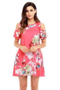 Ruffled Cold Shoulder Rosy Floral Dress