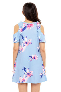 Ruffled Cold Shoulder Light Blue Floral Dress