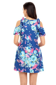 Ruffled Cold Shoulder Blue Floral Dress