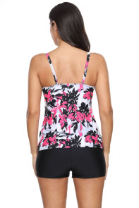 Rose Red Floral Print Swimdress Tankini and Shorts