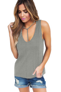 Gray T Front Strappy Neck Tank