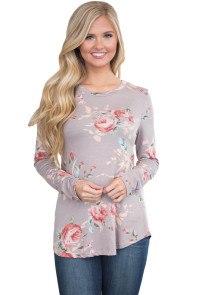 Khaki Long Sleeve Floral Autumn Womens Top