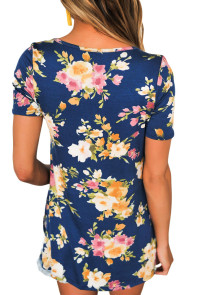 Blue Floral Print Crisscross V Neck Casual Shirt