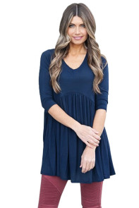 Blue 3/4 Sleeve Babydoll Tops