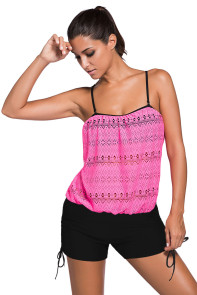 Pink Lace Overly Black 2pcs Bandeau Tankini Swimsuit