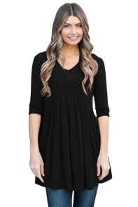 Black 3/4 Sleeve Babydoll Tops