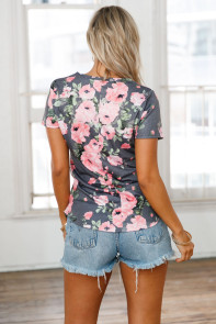Grey Denim Floral V Neck Short Sleeve T-shirt
