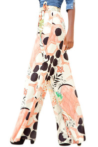 Orange Black Graphic Print Palazzo Pants