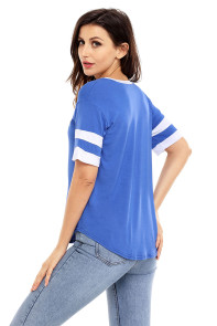 Blue Short Sleeve Top with White Stripe