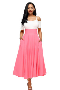 Pink Retro High Waist Pleated Belted Maxi Skirt