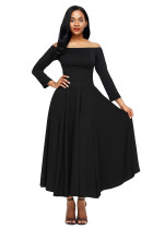 Black Retro High Waist Pleated Belted Maxi Skirt