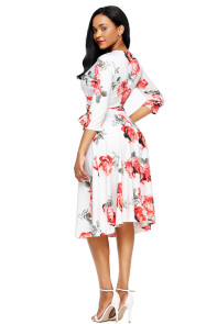 Red Blossom Print White Wrap Floral Dress