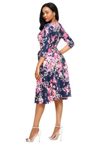 Rosy Blossom Print Navy Wrap Floral Dress