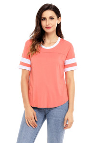 Orange Short Sleeve Top with White Stripe