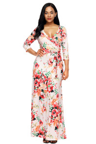 Apricot Floral Print Wrapped Long Boho Dress