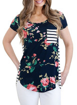 Navy Floral and Striped Casual T-shirt