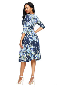 Light Blue Blossom Print Navy Wrap Floral Dress